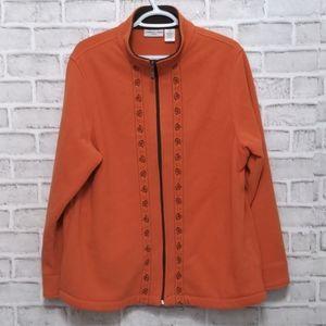 Fall Fleece Zip Up Sweater Size 1X Orange